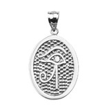 Sterling Silver Eye of Horus Engravable Oval Pendant Necklace