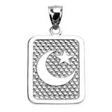 Sterling Silver Crescent Moon Engravable Pendant Necklace