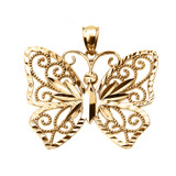 Yellow Gold Filigree Butterfly Pendant Necklace