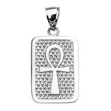 Sterling Silver Egyptian Ankh Cross Engravable Pendant Necklace