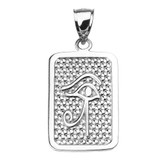 Sterling Silver Eye of Horus Engravable Pendant Necklace