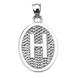 """Sterling Silver Initial """"H"""" Engravable Oval Pendant Necklace"""