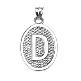 """Sterling Silver Initial """"D"""" Engravable Oval Pendant Necklace"""