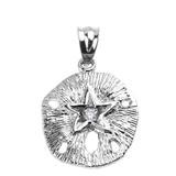 White Gold Sand Dollar CZ Pendant Necklace