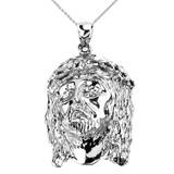 Sterling Silver Jesus Face  Pendant Necklace