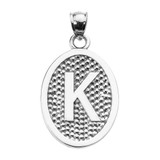 """Sterling Silver Initial """"K"""" Engravable Oval Pendant Necklace"""
