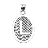 """Sterling Silver Initial """"L"""" Engravable Oval Pendant Necklace"""