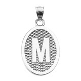 """Sterling Silver Initial """"M"""" Engravable Oval Pendant Necklace"""