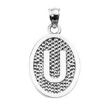 """Sterling Silver Initial """"U"""" Engravable Oval Pendant Necklace"""