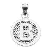 """Sterling Silver Initial """"B"""" Engravable Round Pendant Necklace"""