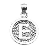 """Sterling Silver Initial """"E"""" Engravable Round Pendant Necklace"""