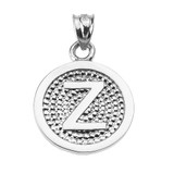 """Sterling Silver Initial """"Z"""" Engravable Round Pendant Necklace"""