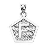 "Sterling Silver Initial ""F"" Engravable Pentagon Shape Pendant Necklace"