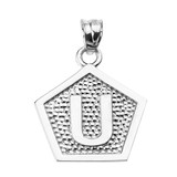 """Sterling Silver Initial """"U"""" Engravable Pentagon Shape Pendant Necklace"""