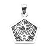 Sterling Silver Air Force Engravable Pentagon Shape Pendant Necklace