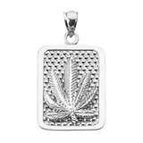 Sterling Silver Marijuana Cannabis Leaf Engravable Pendant Necklace