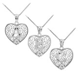 """White Gold Filigree Heart """"A"""" Initial CZ Pendant Necklace"""
