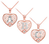 """Two Tone Rose Gold Filigree Heart """"A"""" Initial CZ Pendant Necklace"""
