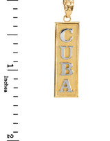 Two Tone Yellow Gold CUBA Pendant Necklace