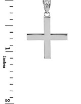 White Gold Greek Cross Pendant Necklace