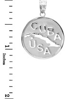 Solid White Gold CUBA-USA Medallion Pendant Necklace