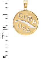 Two Tone Yellow Gold CUBA-USA Medallion Pendant Necklace