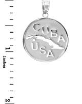 Sterling Silver CUBA-USA Medallion Pendant Necklace