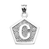 """Sterling Silver Initial """"C"""" Engravable Pentagon Shape Pendant Necklace"""
