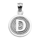 """Sterling Silver Initial """"D"""" Engravable Round Pendant Necklace"""
