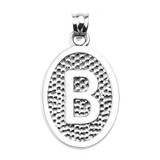 """Sterling Silver Initial """"B"""" Engravable Oval Pendant Necklace"""