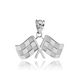 White Gold Racing Flags Pendant Necklace