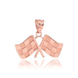 Rose Gold Racing Flags Pendant Necklace