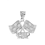 White Gold Racing Flags with Speed Freak Charm