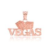 Rose Gold VEGAS Dice Pendant Necklace