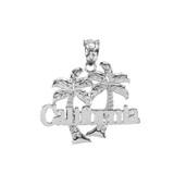 White Gold California Palm Tree Pendant Necklace