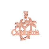 Rose Gold California Palm Tree Pendant Necklace