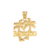 Yellow Gold Mexico Palm Tree Pendant Necklace