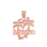 Rose Gold Mexico Palm Tree Pendant Necklace