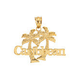Yellow Gold Caribbean Palm Tree Pendant Necklace