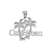 Sterling Silver Caribbean Palm Tree Pendant Necklace