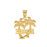 Yellow Gold Hawaii Palm Tree Pendant Necklace