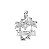 Sterling Silver Hawaii Palm Tree Pendant Necklace