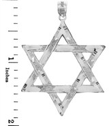 Jewish Charms and Pendants - Large White Gold Star of David Pendant
