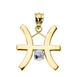 Yellow Gold Pisces Zodiac Sign March Birthstone Pendant Necklace