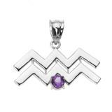 White Gold Aquarius Zodiac Sign February Birthstone Pendant Necklace