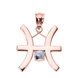 Rose Gold Pisces Zodiac Sign March Birthstone Pendant Necklace