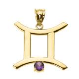 Yellow Gold Gemini Zodiac Sign June Birthstone Pendant Necklace