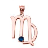 Rose Gold Virgo Zodiac Sign September Birthstone Pendant Necklace