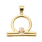 Yellow Gold Libra Zodiac Sign October Birthstone Pendant Necklace