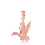 Flying Duck Rose Gold Pendant Necklace